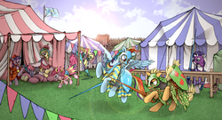 Size: 2500x1347 | Tagged: safe, artist:moderatelydeviant, applejack, fluttershy, pinkie pie, princess celestia, princess luna, rainbow dash, rarity, spike, twilight sparkle, alicorn, earth pony, pegasus, pony, unicorn, armor, bridle, broken, broken weapon, clothes, fantasy class, helmet, jester, jester pie, joust, jousting, knight, lance, mane six, medieval, shield, spear, squire, tack, tent, warrior, warrior celestia, weapon