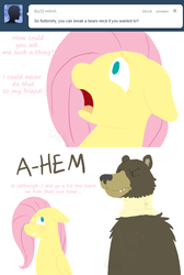 Size: 644x960 | Tagged: dead source, safe, artist:cartoonlion, fluttershy, harry, bear, pegasus, pony, ask, female, floppy ears, mare, neck brace, no pupils