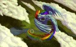 Size: 1920x1200   Tagged: safe, artist:tsitra360, rainbow dash, pegasus, pony, bird's eye view, cloud, cloudy, eyes closed, female, flying, mare, rainbow trail, river, solo