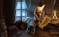 Size: 1920x1200 | Tagged: artist:tsitra360, bald, beard, book, candle, clothes, deckard cain, diablo, glowing horn, mage, magic, male, old, ponified, pony, rat, realistic, safe, scroll, skull, solo, stallion, unicorn, window