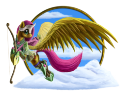Size: 1024x795 | Tagged: safe, artist:tsitra360, fluttershy, pegasus, pony, armor, arrow, bow (weapon), female, flying, mare, quiver, smiling, solo, weapon