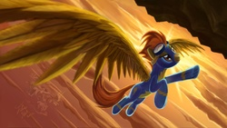 Size: 3840x2160   Tagged: safe, artist:tsitra360, spitfire, pegasus, pony, cloud, cloudsdale, female, flying, goggles, high res, impossibly large wings, mare, solo, sunrise, upside down, wonderbolts uniform