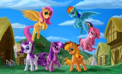 Size: 2000x1207 | Tagged: safe, artist:tsitra360, applejack, fluttershy, pinkie pie, rainbow dash, rarity, twilight sparkle, earth pony, pegasus, pony, unicorn, female, mane six, mare, mirror, outdoors, ponyville