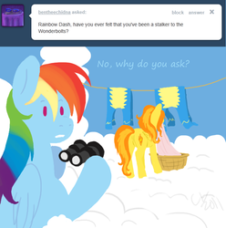 Size: 641x645   Tagged: dead source, safe, artist:cartoonlion, rainbow dash, spitfire, pegasus, pony, ask, binoculars, clothes, clothes line, cloud, cutie mark, female, hooves, laundry, lineless, mare, mouth hold, on a cloud, plot, standing on cloud, teeth, text, tumblr, uniform, wings, wonderbolts uniform