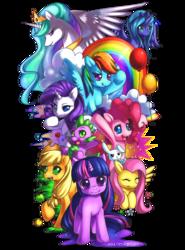 Size: 1024x1387   Tagged: safe, artist:jiayi, angel bunny, applejack, fluttershy, pinkie pie, princess celestia, princess luna, rainbow dash, rarity, spike, twilight sparkle, alicorn, dragon, earth pony, pegasus, pony, unicorn, balloon, cloud, female, male, mane seven, mane six, mare, rainbow, s1 luna, simple background, transparent background
