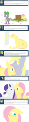 Size: 656x2733 | Tagged: dead source, safe, artist:cartoonlion, derpy hooves, fluttershy, rarity, spike, dragon, pegasus, pony, unicorn, ask, dragonified, female, flutterdragon, hiding, implied transformation, male, mare, mirror, no pupils, species swap, tree stump