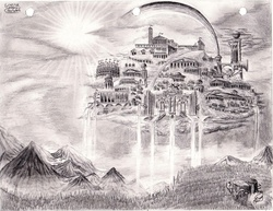 Size: 3268x2520   Tagged: safe, artist:josh-5410, cloud, cloudsdale, cloudy, crepuscular rays, featured image, flower, forest, grayscale, high res, monochrome, mountain, mushroom, no pony, pencil drawing, rainbow, scenery, scenery porn, sun, traditional art, tree, tree stump, waterfall
