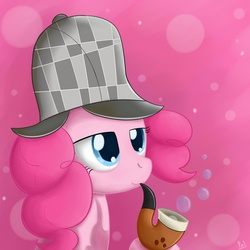 Size: 2000x2000 | Tagged: dead source, safe, artist:polkin, pinkie pie, earth pony, pony, mmmystery on the friendship express, abstract background, bubble, bubble pipe, deerstalker, detective, female, hat, high res, mare, pipe, sherlock holmes, sherlock pie, solo