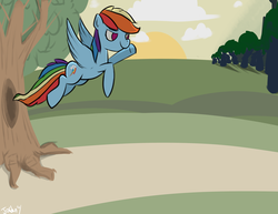 Size: 3850x2975 | Tagged: safe, artist:jordan, rainbow dash, pegasus, pony, everfree forest, female, flying, high res, mare, no pupils, solo, sunrise, sunset, tree