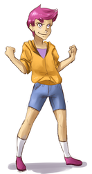 Size: 565x1065 | Tagged: safe, artist:gog-tier, scootaloo, human, 2010s, 2012, clothes, confident, denim shorts, female, fist, human coloration, humanized, purple hair, shadow, shorts, simple background, smiling, smirk, socks, solo, white background