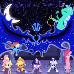 Size: 1024x1024 | Tagged: safe, artist:closet-brony, applejack, fluttershy, lyra heartstrings, nightmare moon, pinkie pie, rainbow dash, rarity, twilight sparkle, alicorn, earth pony, pegasus, pony, snake, unicorn, armor, bad end, corrupted, female, flail, mane six, mare, sword, weapon, xk-class end-of-the-world scenario