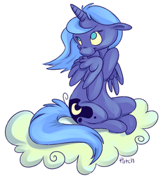 Size: 1050x1131   Tagged: safe, artist:pashapup, princess luna, alicorn, pony, cloud, cutie mark, female, floppy ears, hooves, horn, mare, no pupils, on a cloud, s1 luna, simple background, sitting, sitting on cloud, solo, white background, wings