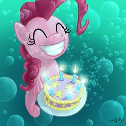 Size: 1280x1280 | Tagged: artist:giantmosquito, bubble, cake, candle, eyes closed, female, hilarious in hindsight, how, pinkie being pinkie, pinkie physics, pinkie pie, pinkie pie cares not for your physics, safe, seahorse, sea pony, seapony pinkie pie, smiling, solo, species swap, underwater