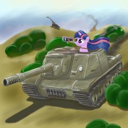Size: 1400x1400 | Tagged: safe, artist:cyb3rwaste, twilight sparkle, assault gun, binoculars, isu-152, levitation, magic, solo, soviet, tank (vehicle), weapon, world war ii