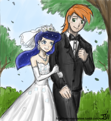 Size: 914x1000 | Tagged: safe, artist:johnjoseco, artist:michos, big macintosh, princess luna, human, clothes, dress, female, humanized, lunamac, male, marriage, shipping, straight, wedding, wedding dress