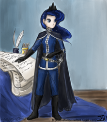 Size: 882x1000 | Tagged: safe, artist:johnjoseco, artist:michos, princess luna, human, cape, clothes, colored, female, fine art parody, humanized, military uniform, napoleon bonaparte, skinny, solo, sword, uniform, warrior luna, weapon