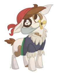 Size: 987x1200 | Tagged: safe, artist:pashapup, pipsqueak, earth pony, pony, best boi, colt, eyepatch, floppy ears, male, mouth hold, no pupils, pirate, simple background, solo, sword, transparent background, weapon