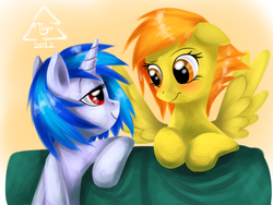 Size: 1024x768 | Tagged: safe, artist:cat-cly, dj pon-3, spitfire, vinyl scratch, pegasus, pony, unicorn, blushing, eye contact, female, gradient background, lesbian, looking at each other, mare, shipping, vinylfire