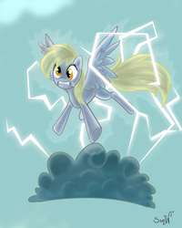 Size: 2000x2500   Tagged: dead source, safe, artist:samywalle, derpy hooves, pegasus, pony, cloud, female, high res, i just don't know what went wrong, lightning, mare, signature, solo, stormcloud, surprised