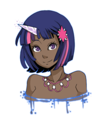 Size: 480x590 | Tagged: safe, artist:ssenarrya, twilight sparkle, human, bare shoulder portrait, bare shoulders, bust, dark skin, female, horned humanization, humanized, jewelry, looking at you, simple background, solo, transparent background