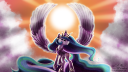 Size: 2000x1125   Tagged: safe, artist:esuka, princess celestia, alicorn, pony, backlighting, cloud, cloudy, crepuscular rays, featured image, female, flying, large wings, mare, smiling, solo, spread wings, wings