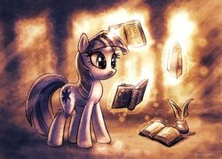 Size: 1675x1200 | Tagged: safe, artist:kp-shadowsquirrel, twilight sparkle, pony, unicorn, book, female, inkwell, magic, mare, monochrome, quill, reading, solo, telekinesis