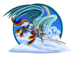 Size: 1024x795 | Tagged: safe, artist:tsitra360, rainbow dash, pegasus, pony, armor, female, flying, mare, mouth hold, solo, sword, weapon