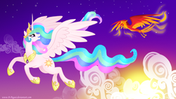 Size: 1360x768   Tagged: safe, artist:b-pegasi, philomena, princess celestia, alicorn, phoenix, pony, cloud, cloudy, duo, female, flying, looking back, mare, open mouth, smiling, spread wings, sun