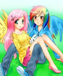Size: 800x960 | Tagged: angel bunny, artist:racoonsan, breasts, brown eyes, busty fluttershy, clothes, converse, cute, female, flutterdash, fluttershy, hairclip, human, humanized, jacket, lesbian, midriff, rainbow dash, safe, shipping, shoes, sitting, skirt, sneakers, sweater, sweatershy, winged humanization, wrong eye color