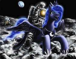 Size: 1000x773 | Tagged: safe, artist:balthasar999, princess luna, alicorn, pony, astronaut, beautiful, cute, duo, earth, epic, female, fist pump, flying, humans riding ponies, luna and the nauts, mare, moon, neil armstrong, on the moon, open mouth, riding, smiling, space, spacesuit, spread wings