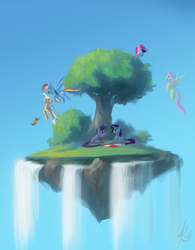 Size: 946x1210 | Tagged: safe, artist:raikoh, applejack, fluttershy, pinkie pie, rainbow dash, rarity, twilight sparkle, earth pony, pegasus, pony, unicorn, binoculars, female, floating island, flying, mane six, mare, picnic, picnic blanket, scenery, sitting, tree, waterfall