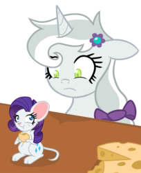 Size: 1200x1468 | Tagged: artist:he4rtofcourage, cheese, female, mare, mouse, opalescence, ponified, ponified pony pets, pony, rarimouse, rarity, safe, species swap, unicorn