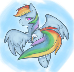 Size: 715x695 | Tagged: safe, artist:soulspade, rainbow dash, pegasus, pony, bedroom eyes, blue background, covering, empty eyes, female, flying, looking at you, looking back, looking back at you, mare, no catchlights, no pupils, rear view, simple background, solo, spread wings, tail covering, underhoof