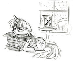 Size: 900x746 | Tagged: safe, artist:lauren faust, twilight sparkle, pony, unicorn, bags under eyes, behind the scenes, book, color me, concept art, dawn, female, floppy ears, hourglass, lineart, mare, morning ponies, prone, sketch, solo, tired, unicorn twilight, window