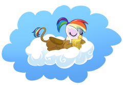 Size: 1500x1000 | Tagged: safe, artist:madmax, oc, oc only, oc:rainbow feather, griffon, cloud, eyes closed, female, interspecies offspring, magical lesbian spawn, offspring, on a cloud, parent:gilda, parent:rainbow dash, parents:gildash, prone, rainbow hair, simple background, sleeping, smiling, solo, transparent background