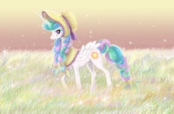 Size: 2286x1497 | Tagged: alicorn, alternate hairstyle, artist:lueza-35, bonnet, braid, female, grass, hat, looking at you, mare, missing accessory, pony, princess celestia, raised hoof, safe, smiling, solo