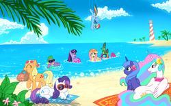 Size: 1920x1200 | Tagged: safe, artist:madmax, applejack, fluttershy, gummy, pinkie pie, princess celestia, princess luna, rainbow dash, rarity, spike, twilight sparkle, alicorn, dragon, duck pony, earth pony, pegasus, pony, unicorn, basket, beach, beach ball, female, flower, flower in hair, flutterduck, inner tube, lighthouse, male, mane seven, mane six, mare, mouth hold, ocean, picnic basket, prone, s1 luna, shark fin, snorkel, sunglasses, water