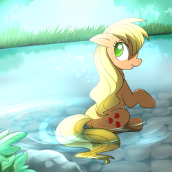 Size: 1000x1000 | Tagged: applejack, artist:madmax, colored pupils, cutie mark, earth pony, female, grass, hatless, looking back, loose hair, mare, missing accessory, pond, pony, safe, sitting, solo, tree, water, wet mane