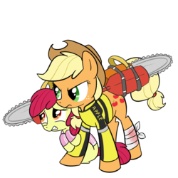 Size: 1000x1000 | Tagged: safe, artist:madmax, apple bloom, applejack, earth pony, pony, chainsaw, chuck greene, clothes, crossover, dead rising, dead rising 2, duo, female, filly, katey greene, mare, paddle, simple background, transparent background