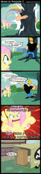 Size: 700x2974 | Tagged: safe, artist:angerelic, fluttershy, human, pegasus, pony, box, bravo vs. ponyville, comic, crossover, female, glare, human male, johnny bravo, male, mare, rhyming
