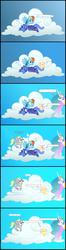 Size: 1600x6036 | Tagged: safe, artist:kurokaji11, derpy hooves, fluttershy, princess celestia, princess luna, rainbow dash, alicorn, pegasus, pony, princess molestia, blushing, cloud, comic, eyes closed, female, implied sex, mare, morning after, pomf, rapeface, s1 luna, sleeping, tongue out, wat, zzz