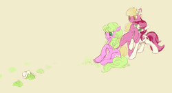 Size: 1109x602 | Tagged: safe, artist:noel, daisy, flower wishes, lily, lily valley, roseluck, earth pony, pony, rabbit, backing away, colored pupils, female, flower trio, hug, mare, the horror