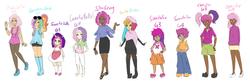 Size: 1600x517 | Tagged: safe, artist:ssenarrya, cheerilee, cheerilee (g3), pinkie pie (g3), rainbow dash (g3), scootaloo, scootaloo (g3), starsong, sweetie belle, sweetie belle (g3), toola roola, human, belly button, clothes, core seven, dark skin, dress, female, g3, g3.5, humanized, midriff, no pupils, pantyhose, simple background, skirt, white background