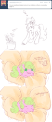 Size: 642x1484 | Tagged: artist:noel, ask, ask the flower girls, blob, chubbie, daisy, duo, duo female, earth pony, female, flower wishes, mameshiba, mare, no pupils, pony, roseluck, safe