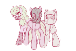 Size: 500x338 | Tagged: safe, artist:noel, daisy, flower wishes, lily, lily valley, roseluck, earth pony, pony, ask the flower girls, ask, female, flower trio, gas mask, hazmat suit, mare, mask, no pupils, simple background, tumblr, white background