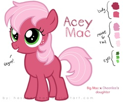 Size: 1086x900   Tagged: safe, artist:hasana-chan, oc, oc only, oc:acey mac, earth pony, pony, blank flank, female, filly, offspring, parent:big macintosh, parent:cheerilee, parents:cheerimac, reference sheet, simple background, solo, white background