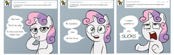 Size: 3728x1176   Tagged: safe, artist:lemondevil, sweetie belle, pony, unicorn, ask, biporarity, female, filly, solo