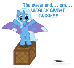 Size: 1251x1150   Tagged: safe, artist:rekiara, trixie, pony, unicorn, bipedal, cape, clothes, filly, foal, patchwork, smiling, solo, younger