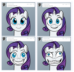 Size: 2824x2744   Tagged: safe, artist:lemondevil, rarity, pony, unicorn, ask, biporarity, creepy, derp, female, grin, high res, mare, slasher smile, smiling, solo