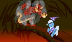 Size: 1700x1000 | Tagged: artist needed, source needed, safe, trixie, balrog, pony, unicorn, action, bridge, clothes, crossover, duo, female, fire, hat, lord of the rings, mare, monster, robe, scared, trixie's cape, trixie's hat